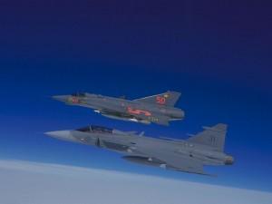 JAS39 Gripen si J-35 Draken - Sursa: basdamen.home.xs4all.nl