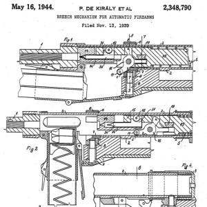 Patentul obtinut de Kiraly, mecanismul inchizator pentru 39M - Sursa: hu.wikipedia.org